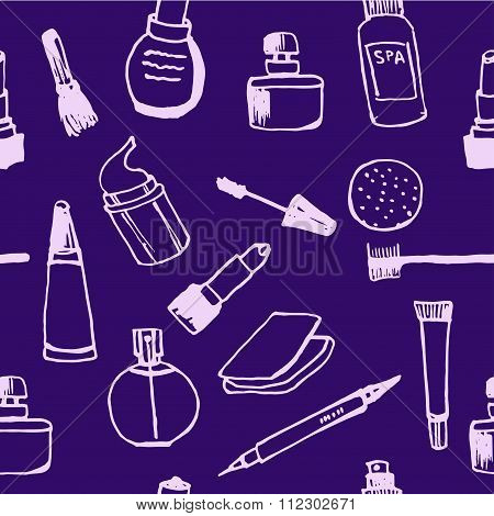 background pattern set Collection of women's cosmetics contour doodle vector illustration