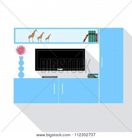Living room with modern furniture. Flat vector illustration with l