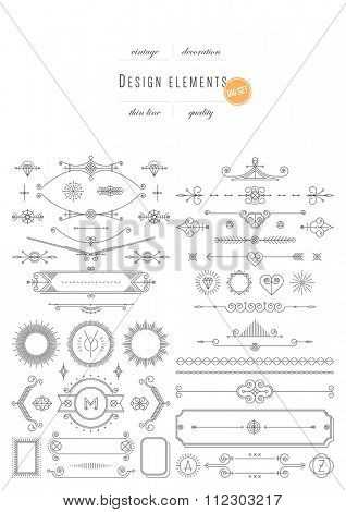 Big vintage set - design elements, thin line ( variable line width )