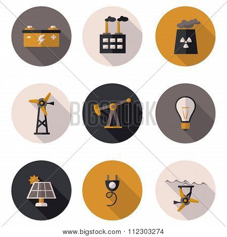 Flat Icons Production Of Electricity
