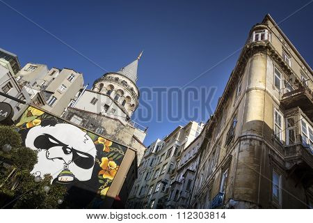 Galata Tower And Old Apartments, Istanbul, Turkey