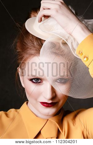Studio Shoot Of Posing Woman. Retro Style. Creative Make Up And Hairstyle.