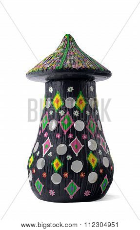 Black Painted Pottery Table Lamp