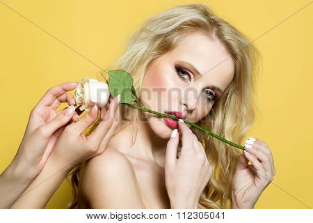 Sexy Woman With Rose