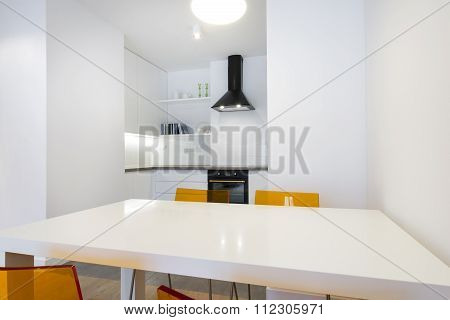 Stylish White Kitchen In Small Apartment