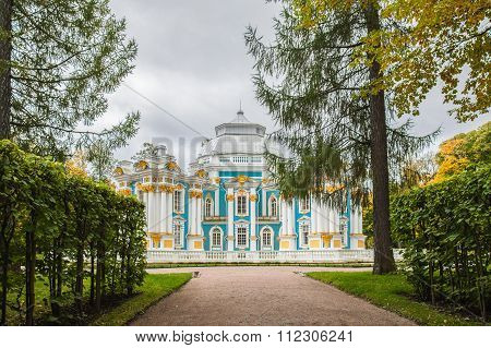 The Hermitage Pavilion In Catherine's Park In Tsarskoe Selo Near St. Petersburg.