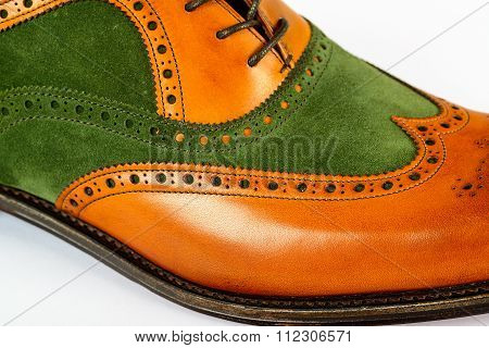 Detail of men's Spectator Style Dress Shoe isolated