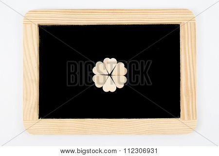 Vintage Chalkboard With Wooden Frame Isolated On White, Craft Heart Shapes Gathered In Shape Of Flow