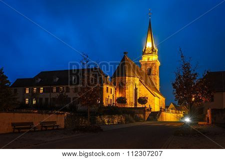 The Church In Bergheim In The Evening Light, Alsace, France