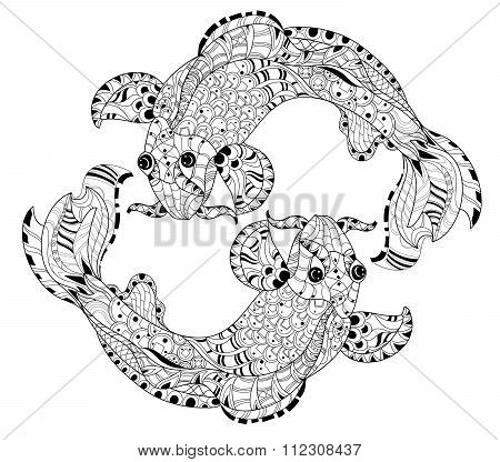 Zentangle stylized floral china fish carp doodle.
