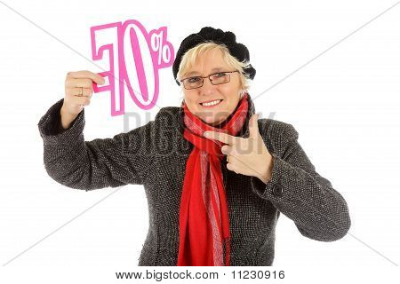 Middle Aged Woman, Seventy Percent Discount Sign