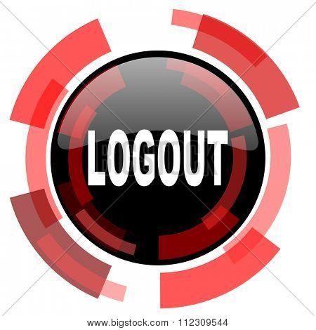 logout red modern web icon