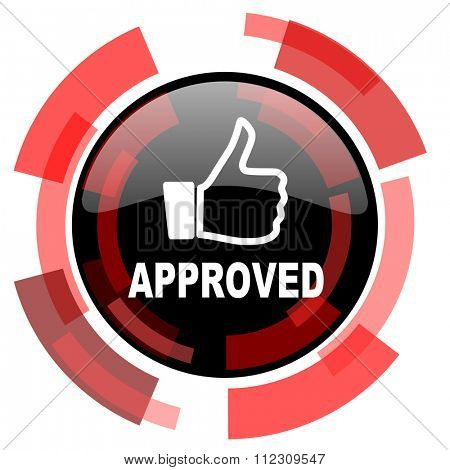 approved red modern web icon