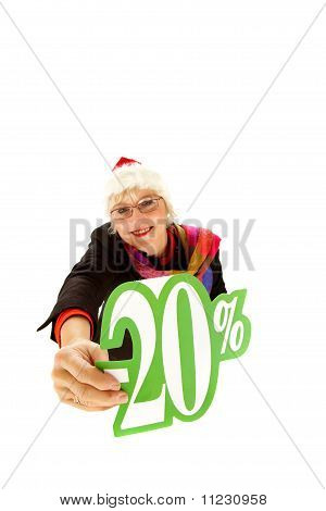 Santa Middle Aged Woman, Twenty Percent Discount