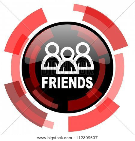 friends red modern web icon