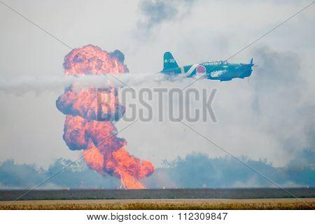 Japanese War Plane Bombing A Target
