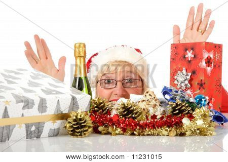 Cheerful Woman Head, Christmas Symbols