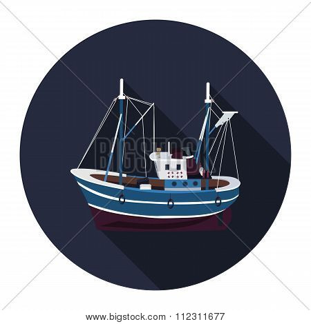 Flat Icon Fishing Trawler