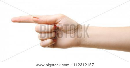 Woman hand making sign isolated on white background. Left