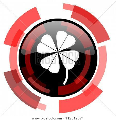 four-leaf clover red modern web icon