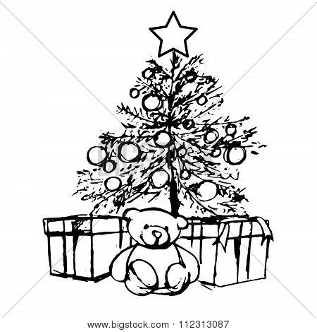 Bear Under The Christmas Tree