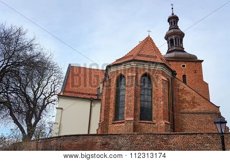 Gothic parish church behind the wall