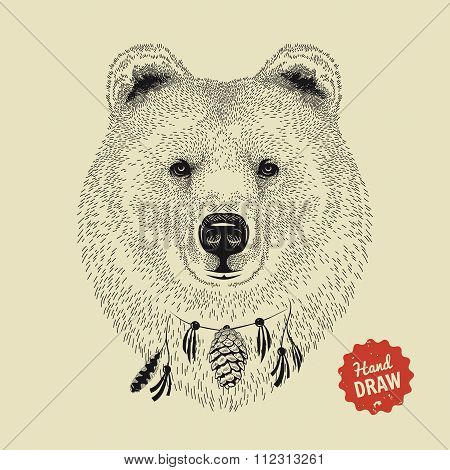 Vector Sketch Of A Bear Face. Bear Head, Front View. Hand Drawn Illustration