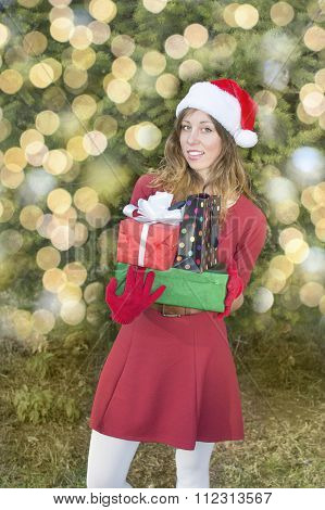 Beautiful Santa Claus Girl With Christmas Presents