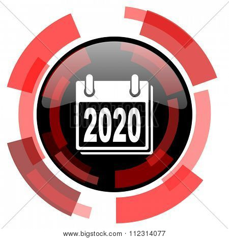 new year 2020 red modern web icon