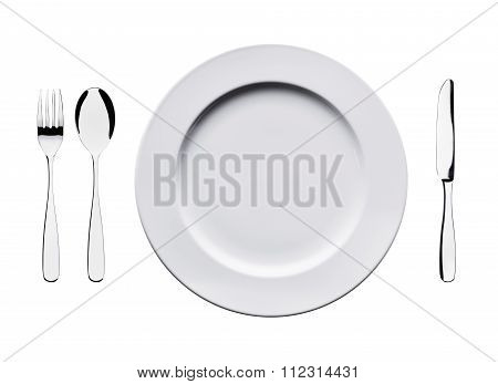 fork, spoon, plate, knife