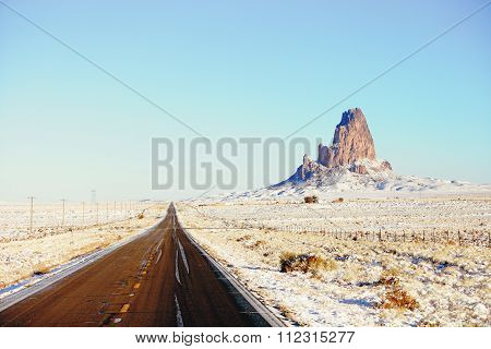 Snow highway 163 to Monument Valley