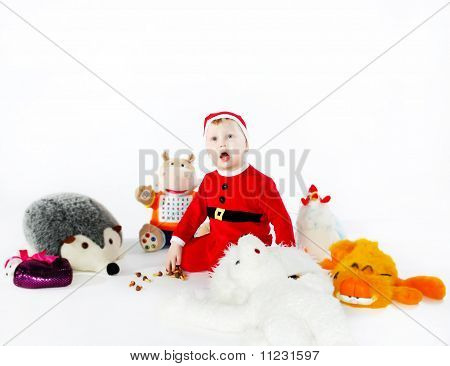 Little Boy With Animal Toys Crying