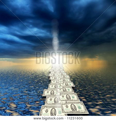 road from banknotes disappearing into a bright blue sky.