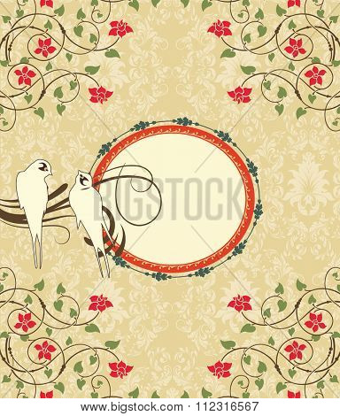 Vintage invitation card with ornate elegant retro abstract floral design, red flowers and green leaves on beige background with birds and oblong text label. Vector illustration.
