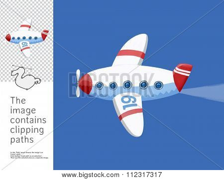 The illustration of the toy airplane in the blue sky. A part of Dodo collection - a set of educational cards for children. The image has clipping paths and you can cut the image from the background.