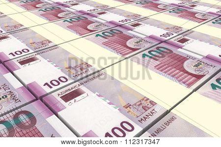 Azerbaijan manat bills stacked background. Computer generated 3D photo rendering.