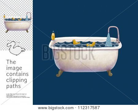 The illustration of the filled bath with toy ducks.  A part of Dodo collection - a set of educational cards for children. The image has clipping paths and you can cut the image from the background.