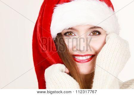 Woman Wearing Santa Claus Hat Portrait.