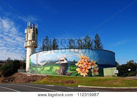 Public art on a water reservoir in Caloundra, Australia