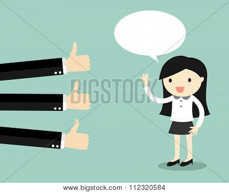 Business concept, business woman get good feedback.