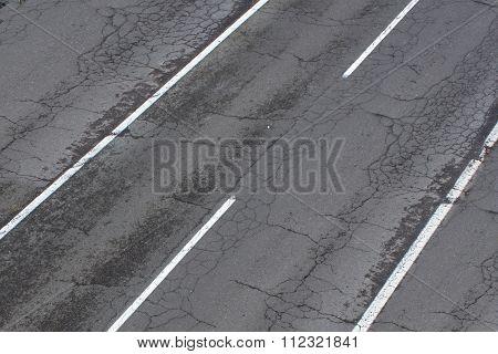Old Street / Road, Damaged Highway, Cracked Asphalt