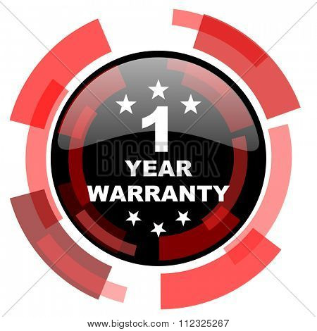 warranty guarantee 1 year red modern web icon