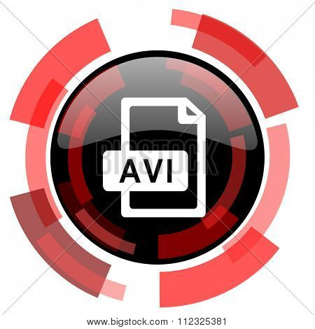avi file red modern web icon