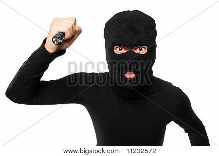 Close Up Of A Robber With Robbery Mask