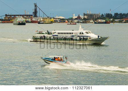 LABUAN FT, MALAYSIA - DEC 08, 2015: A Labuan Express 2 Ferry carries passengers from KK to Labuan FT