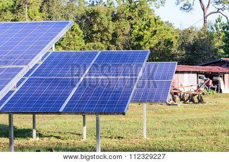 Solar Cells For Renewable Solar Energy With Sun.