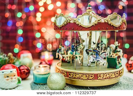 Merry Go Round Music Box And Santa Claus Decoration