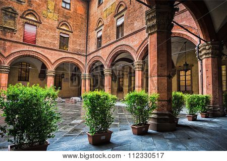 Courtyard Of The Palazzo Comunale In Bologna. Italy