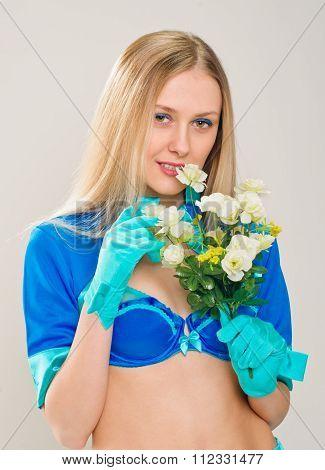 portrait Stewardess with flowers