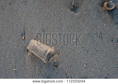 Useless Plastic Glass On The Beach